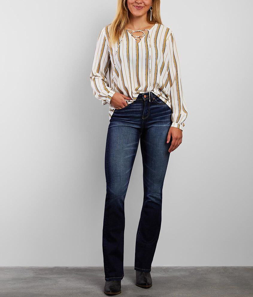 Buckle Black Curvy Mid-Rise Boot Stretch Jean front view