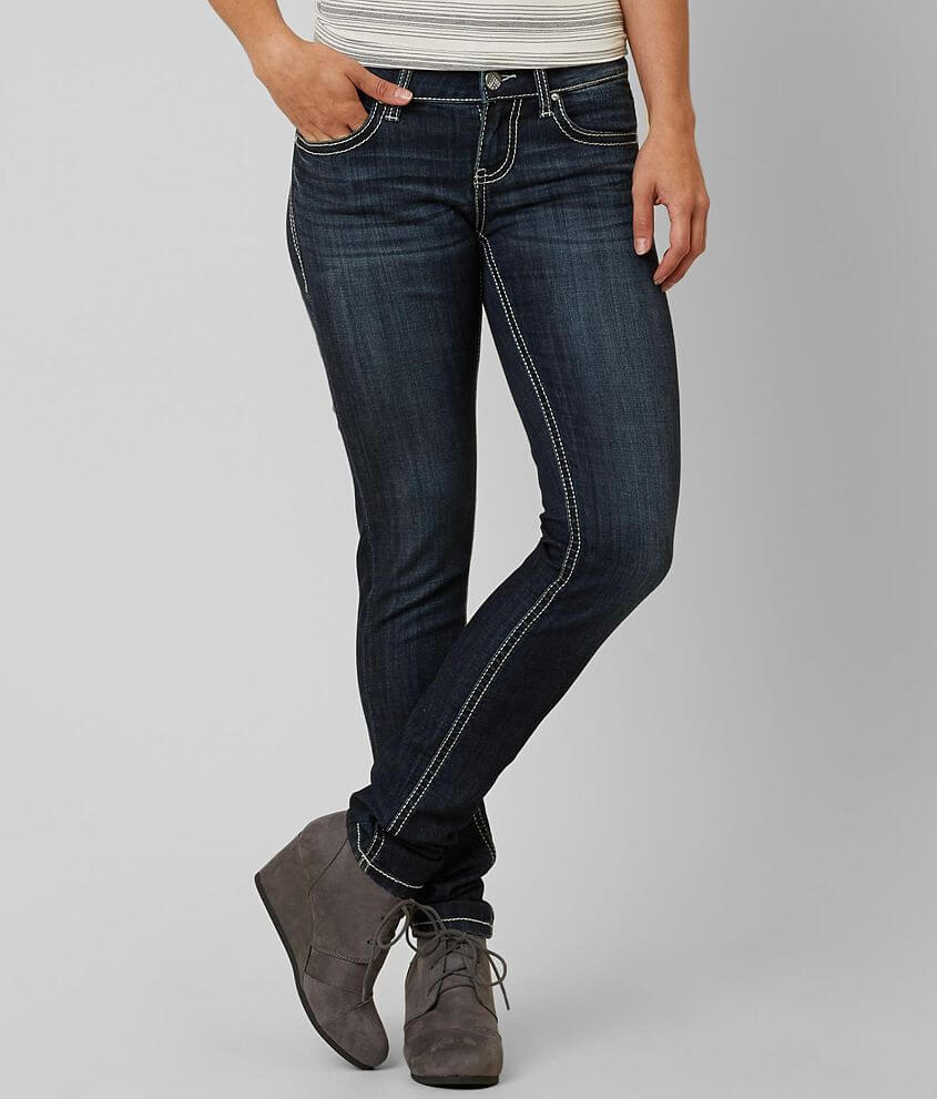 Comfort Stretch (Low Stretch) -Classic denim that has just enough stretch that will only make it fit better over time. Style DBK3615/Skus 122670, 122671, 122672 Mid-rise zip fly stretch jean Slightly fitted through the hip, thigh and leg 10 1/2\\\