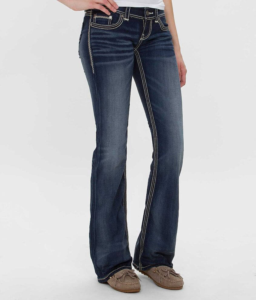Super low rise zip fly stretch jean Comfort waistband Slim through the hip and thigh Slightly flared 19\\\