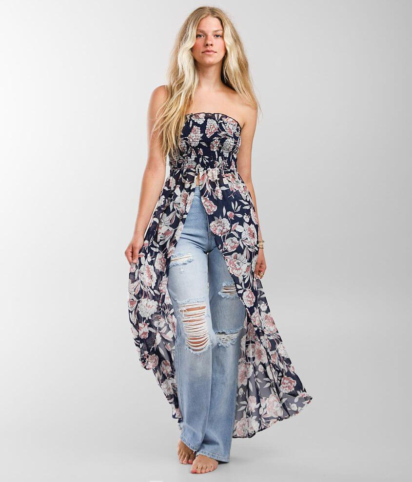 Willow & Root Floral Smocked Maxi Tube Top front view
