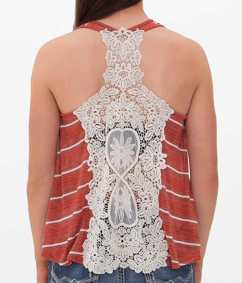 Basil Lola Crochet Tank Top Womens Tops In Rust White Buckle Thumbnail Image Front Misc Detail 1