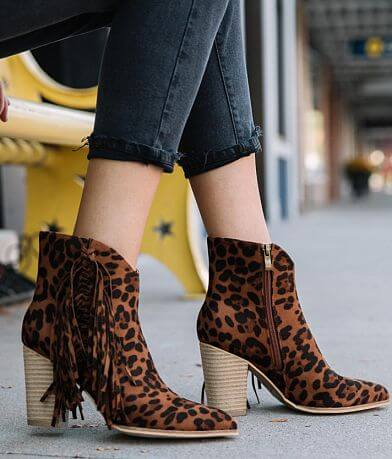 Beast Fashion Jackie Leopard Fringe Ankle Boot
