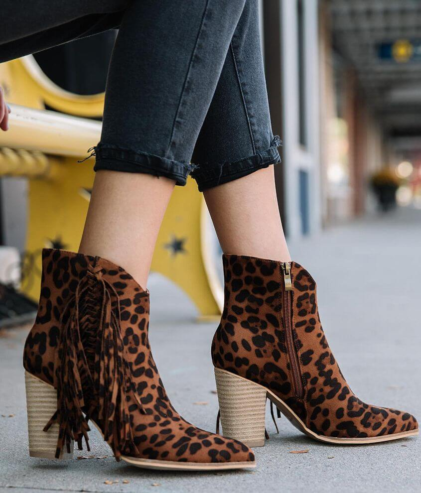 Beast Fashion Jackie Leopard Fringe Ankle Boot front view
