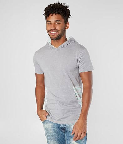 Departwest Striped Inset Hooded T-Shirt