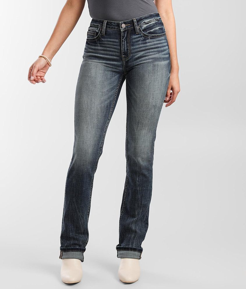 BKE Stella Mid-Rise Straight Stretch Cuffed Jean front view