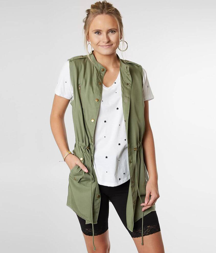 BKE Raw Edge Snap Front Vest front view