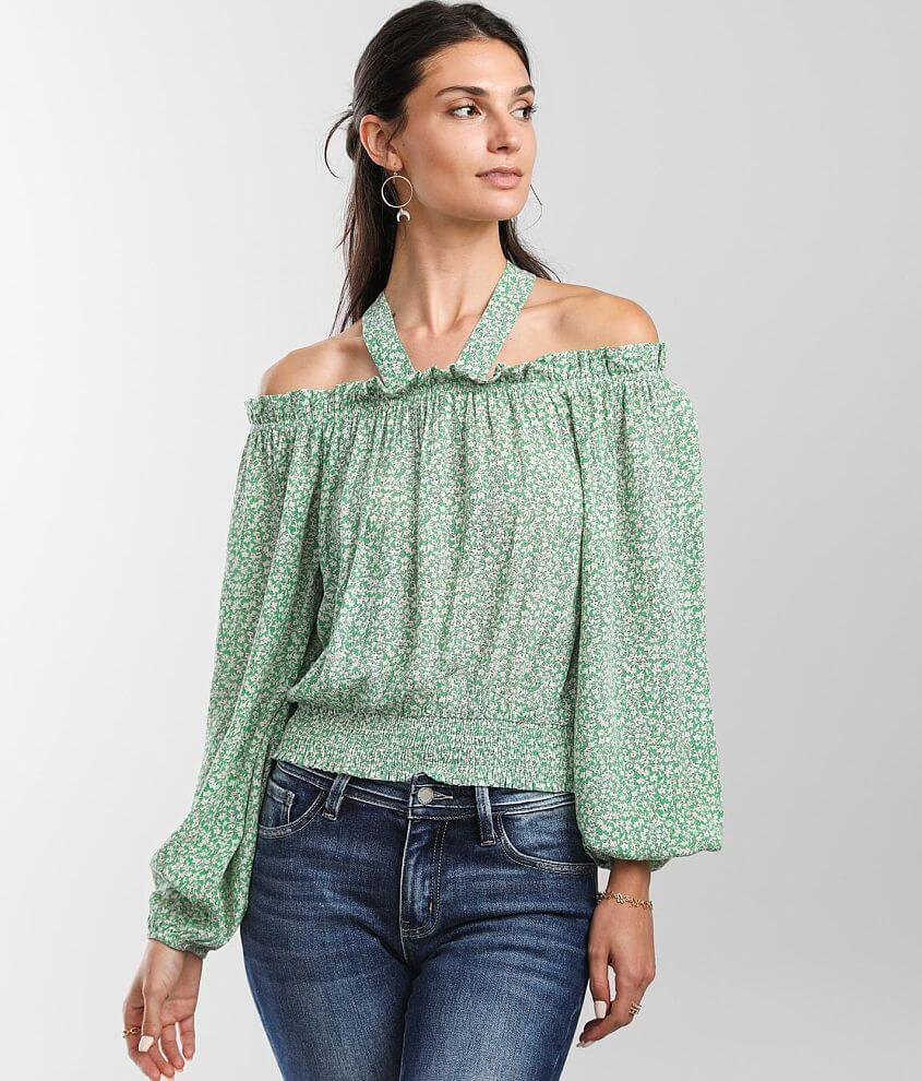 Daytrip Dainty Floral Cold Shoulder Top front view