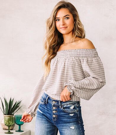 Willow & Root Off The Shoulder Gingham Top