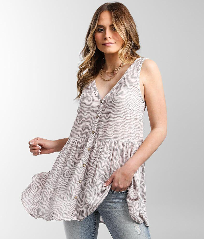 Daytrip Woven Wavy Striped Tunic Tank Top front view