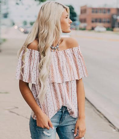 Daytrip Printed Off The Shoulder Top