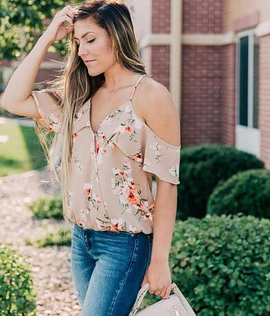 willow & root Floral Cold Shoulder Top