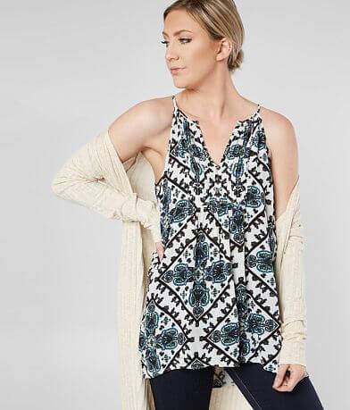 Daytrip Pleated V-Neck Tank Top