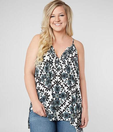 Daytrip Pleated V-Neck Tank Top - Plus Size Only