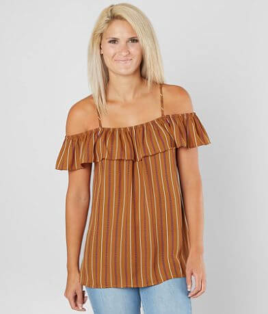 Daytrip Striped Cold Shoulder Top
