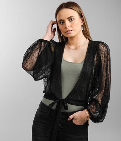 Daytrip Textured Mesh Lace Front Tie Cardigan