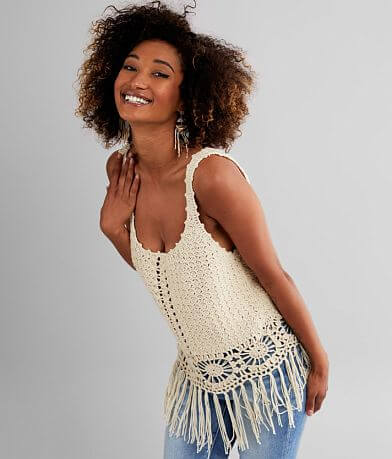 Daytrip Crochet Fringe Tank Top