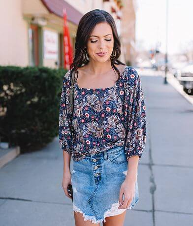 Willow & Root Floral Square Neck Top