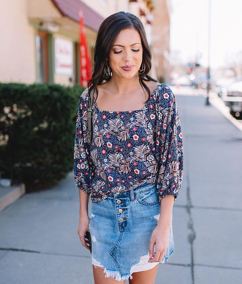 Willow & Root Floral Square Neck Top front view