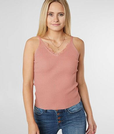 Daytrip Fitted Lace Trim Tank Top