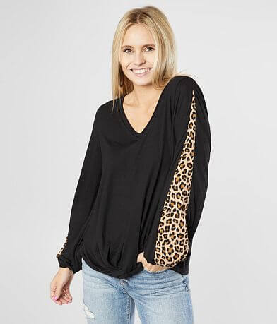 Daytrip Animal Print Inset Top