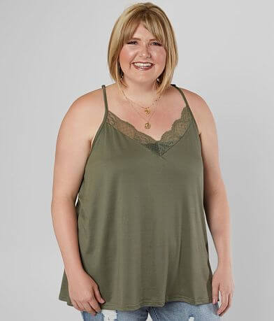Daytrip Lace V-Neck Tank Top - Plus Size Only
