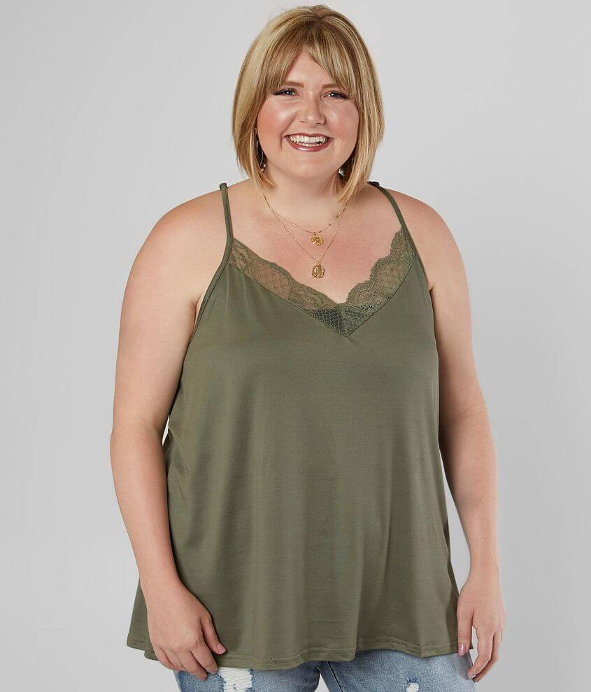 Daytrip Lace V-Neck Tank Top - Plus Size Only front view