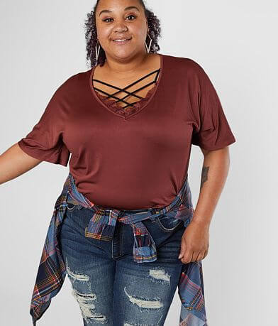 Daytrip Dolman V-Neck Top - Plus Size Only