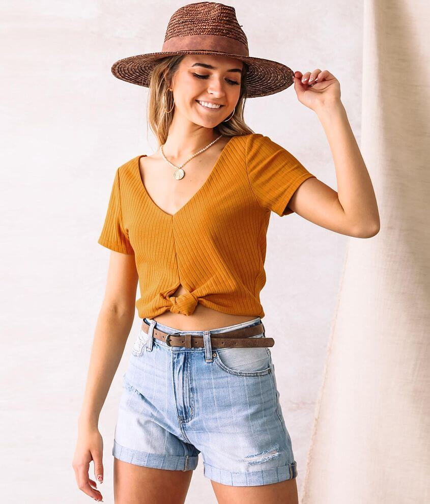 Willow & Root Knotted Crop Top front view