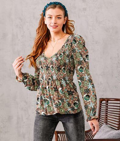 Willow & Root Smocked Floral Peplum Top