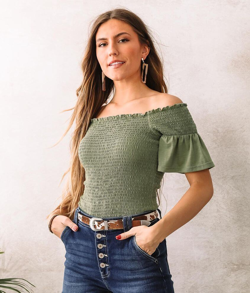 Willow & Root Smocked Ruffle Trim Top front view