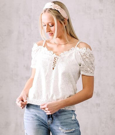 Willow & Root Cold Shoulder Lace-Up Top