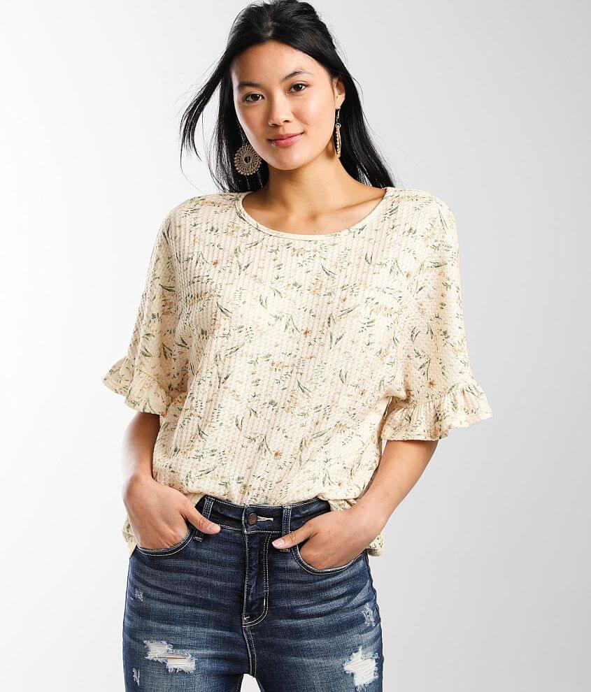 Daytrip Floral Boxy Waffle Knit Top front view