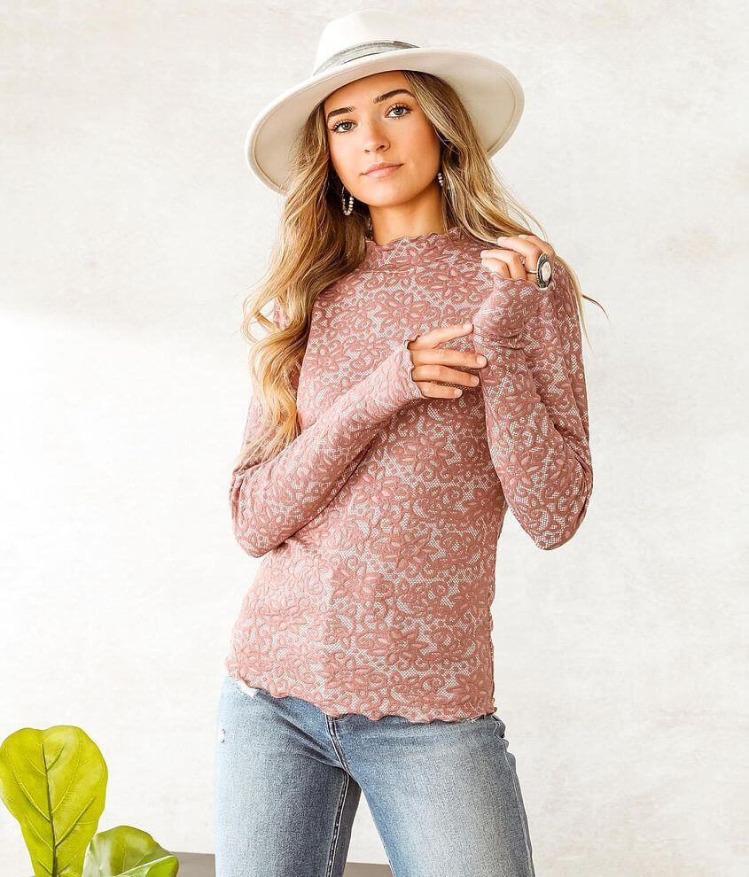 Willow & Root Floral Jacquard Mock Neck Top front view