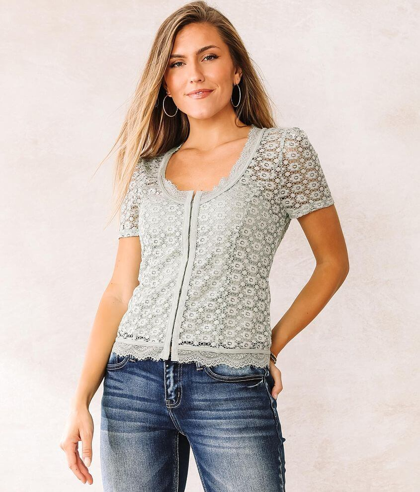 Willow & Root Floral Eyelash Lace Top front view