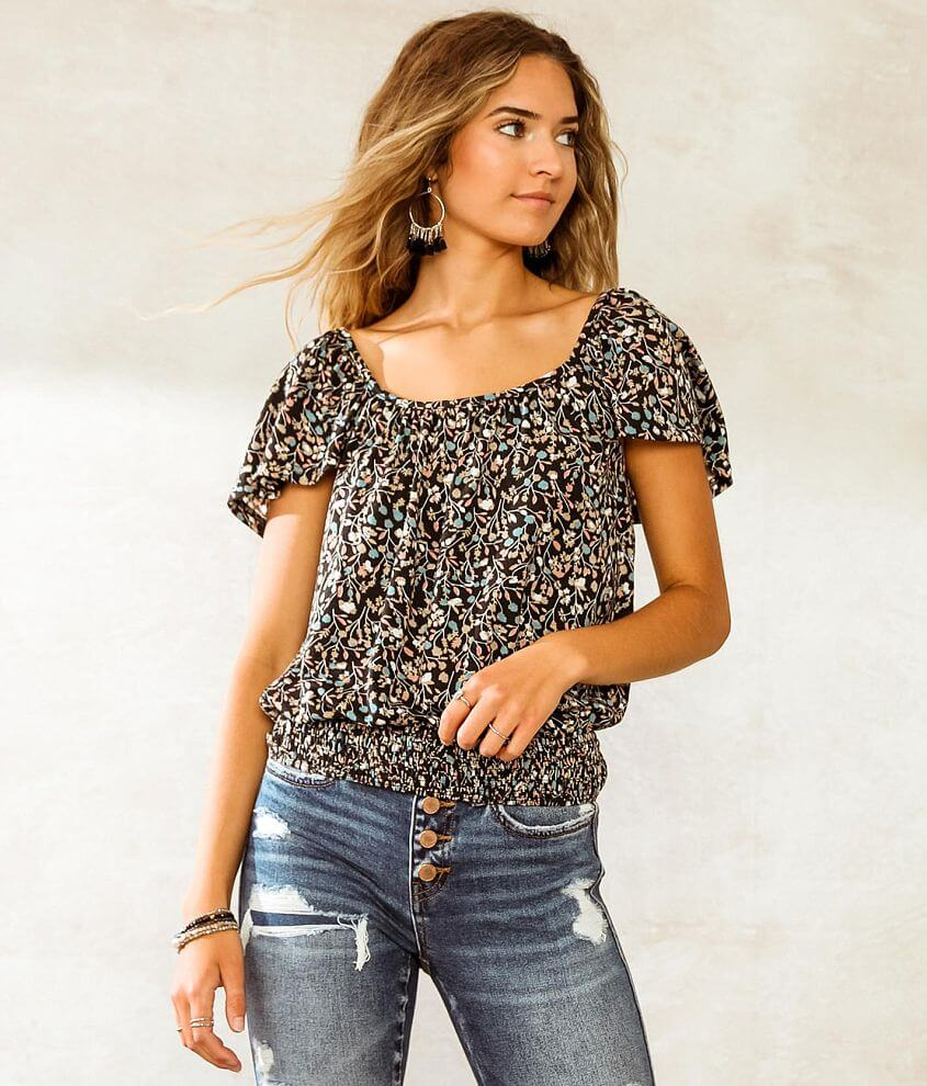 Willow & Root Floral Flutter Cap Sleeve Top front view