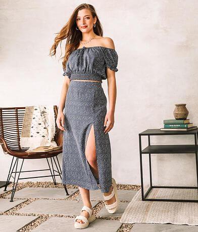 Willow & Root Front Slit Midi Skirt