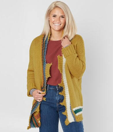 BKE Striped Flyaway Cardigan Sweater