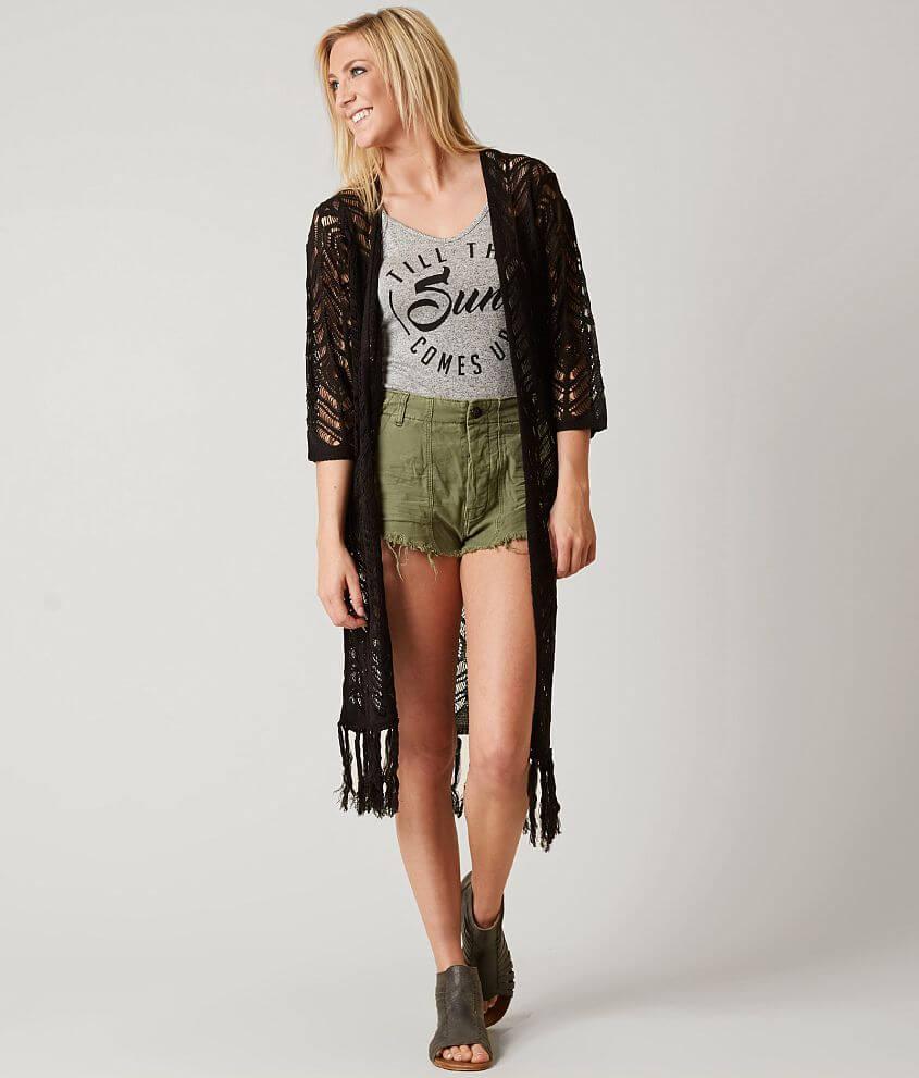 Daytrip Fringe Cardigan Women's Sweaters in Black | Buckle