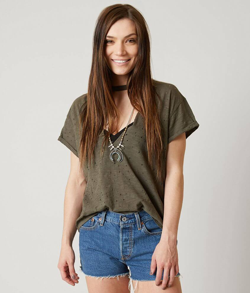 acde8f0a7 Gilded Intent Holey T-Shirt - Women's T-Shirts in Light Olive   Buckle