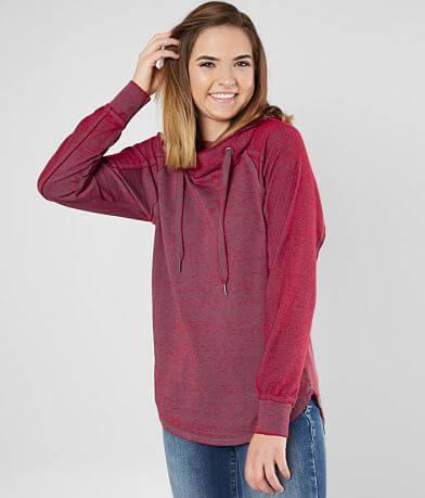 FITZ + EDDI Raw Edge Burnout Hooded Sweatshirt
