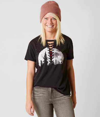 Modish Rebel Lace-Up T-Shirt