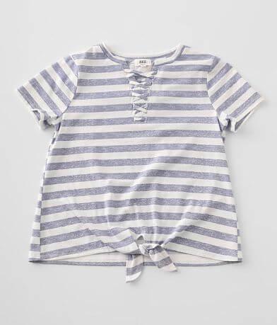 Girls - BKE Striped Lace-Up T-Shirt