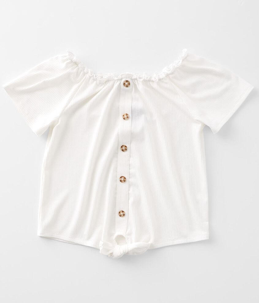 Girls - Daytrip Ribbed Front Tie Top front view