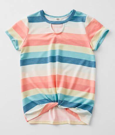 Girls - BKE Wide Stripe Keyhole T-Shirt