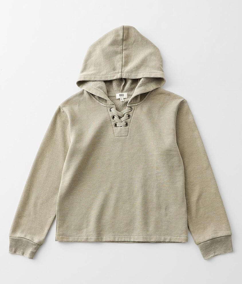 Girls - BKE Lace-up Burnout Hooded Sweatshirt front view