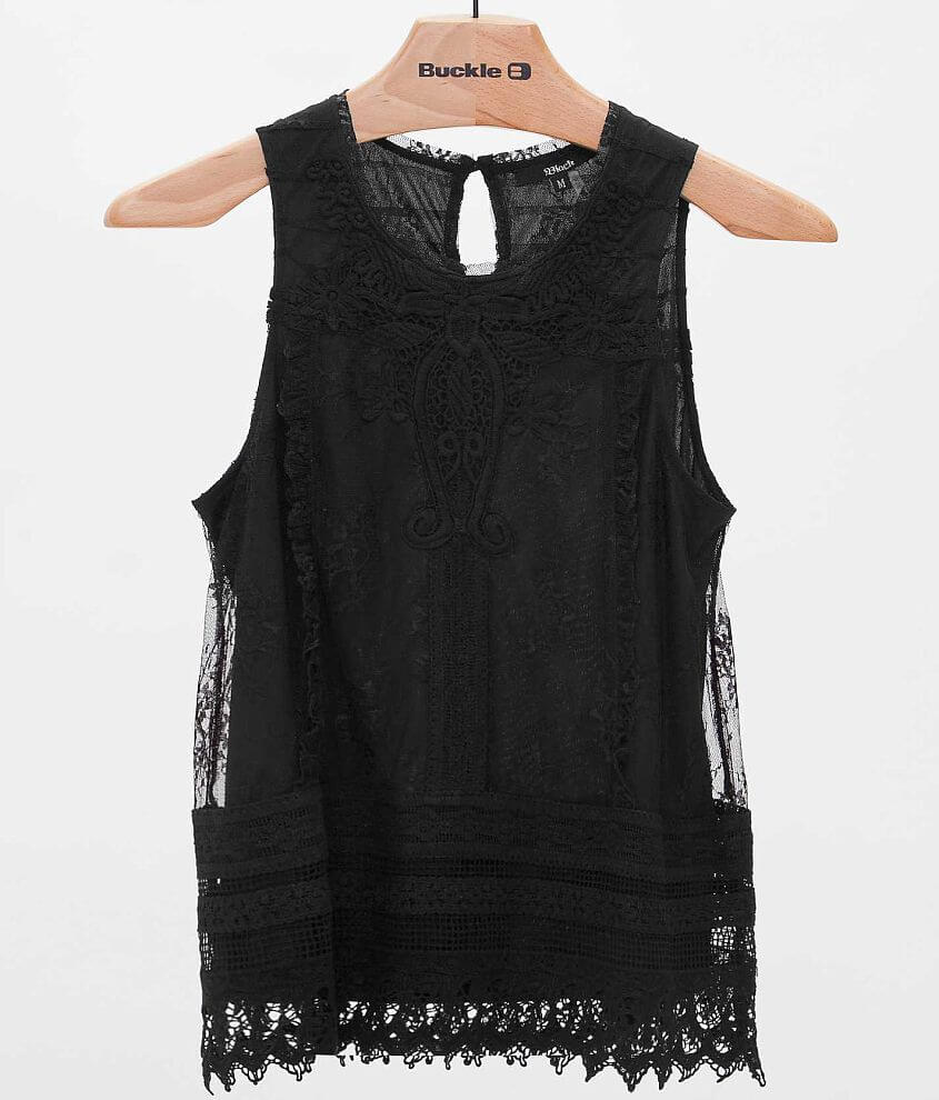 Black Lace Tank Top front view