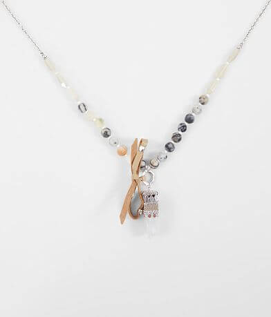 BKE Beaded Stone Pendant Necklace