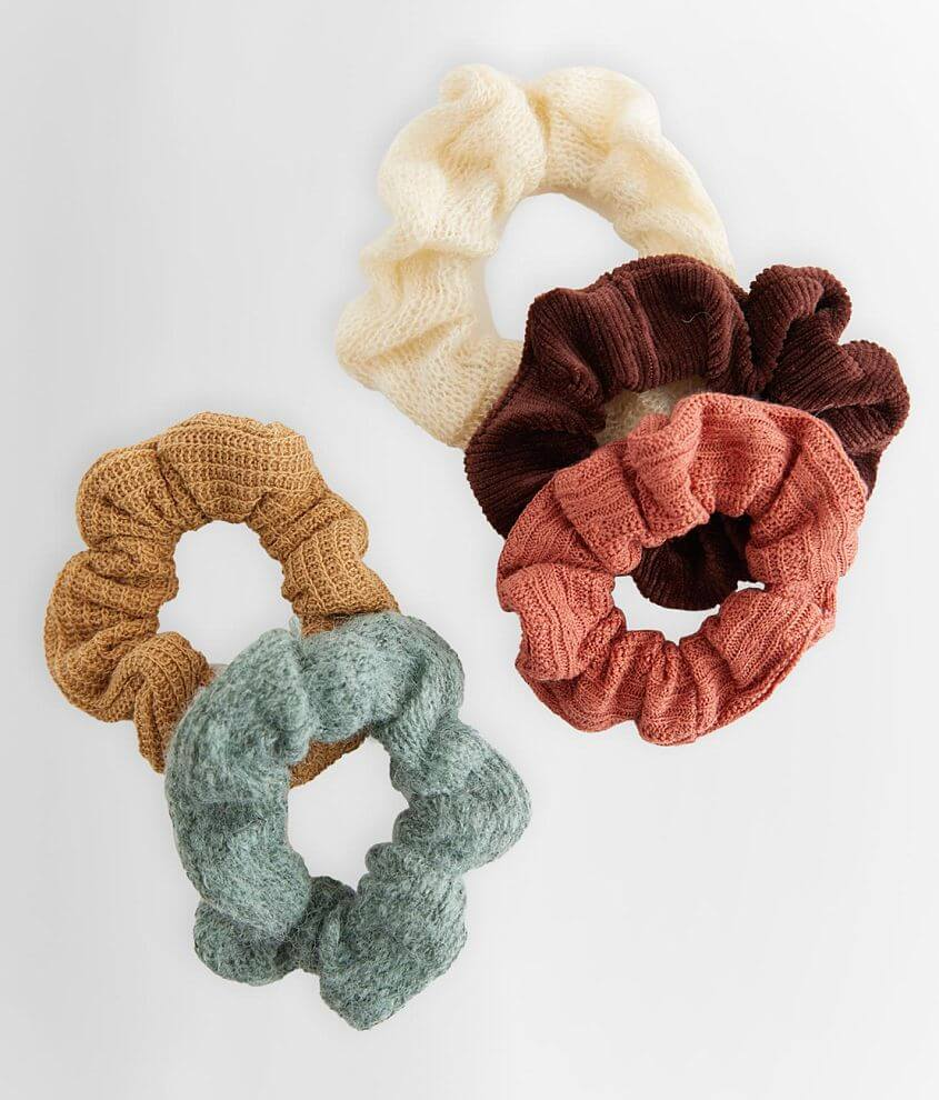 5 Pack Assorted Hair Scrunchies front view