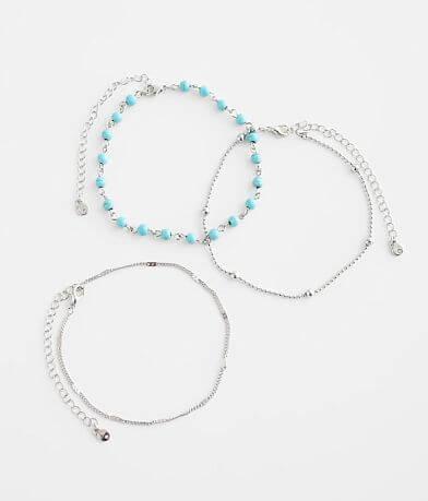 BKE 3 Pack Beaded Ankle Bracelet Set