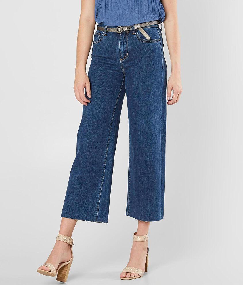 Sneak Peek High Rise Wide Leg Stretch Cropped Jean front view